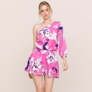 NEW Yumi Kim One Shoulder Floral Pink Mini Dress